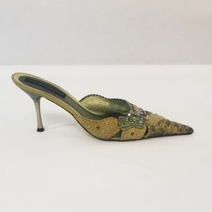 Steve Madden Luxe Mules Size 9 Greens Bejeweled